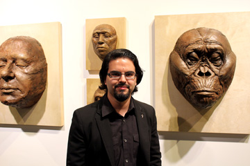 Gabriel Viñas with some of his sculptures